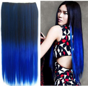 Awbin 60cm Black to Dark Blue Ombre Dip-dye Straight Full Head Clip in Hair Extension