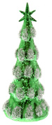 Boston International Blown Glass Tree with LED Lights, Medium, Green Snowy