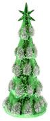 Boston International Blown Glass Tree with LED Lights, Medium, Green Snowy