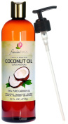 """Flawless Faces Fractionated Coconut Oil - Large 470ml Dark Amber Bottle With Free Pump For Longest Shelf Life - Best Scent Free, Ultra-pure - Superior Carrier, Essential, or Massage Oil - Smooth, """"No-grease"""" Formula - 100% Satisfaction Warranty"""