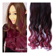 Stepupgirl 60cm Black to Wine Red Omber Colour Curly Curl Wavy Synthetic Clip in Hair Extension
