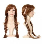 Blisstime® Princess Frozen Elsa Cosplay Anna Wig Brown Long Weaving Braid Costume Cosplay Wig with Free Hair Cap
