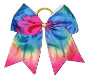 "New ""TIE-DYE RAINBOW"" Cheer Bow Pony Tail 7.6cm Ribbon Girls Hair Bows Cheerleading Practise Football Games Uniform Hairbow Birthday"