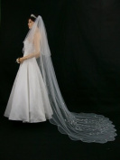 2T 2 Tier Scallop Edge Motifs Bridal Wedding Veil - White Cathedral Length 270cm V167