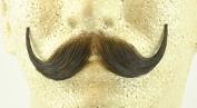 Rubies Handlebar Moustache MEDIUM BROWN - no. 2013 - REALISTIC! 100% Human Hair