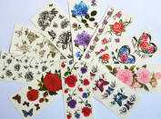 10pcs/package hot selling temporary tattoo stickers various designs including colourful flowers and butterflies/red roses/red peony/black flowers and black butterflies/etc.