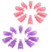 Blovess Pack of 20 Reusable Nail Art Soak Off Cap Clip UV Gel Polish Remover Wrap Tool