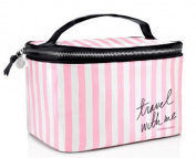 Victoria's Secret Train Case Stripe Cosmetic Case Makeup Travel Case