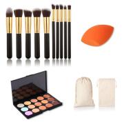 Jmkcoz Makeup Set 10pcs Gold Black Makeup Brush Kit Plus 15 Colours Camouflage Concealer Palette 1pc Canvas Bag and 1pc Makeup Sponge Blender Makeup Kit