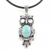 Vintage Feel Silver Tone Turquoise Stone OWL Pendant Necklace