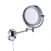Cavoli Lighted Bathroom Makeup Mirror with LED Light Wall Mount 5x Magnification, Dimmable Wall Mounted Vanity Mirror, Chrome Finish