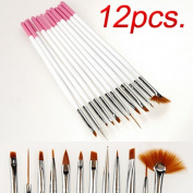 New 12pcs Nail Art Design Painting Pen Dotting Coloured Drawing Brush Acrylic Set