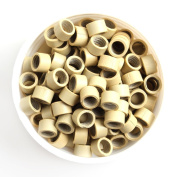 UQ 500 Pcs Blonde Micro Screw Thread Link 4mm Beads Rings Lined Micro-ring For Hair Extensions