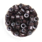 UQ 500 Pcs 5mm Dark Brown Silicone Lined Micro Links Rings Beads Micro-ring For Hair Extensions