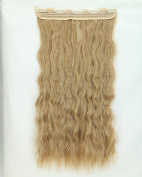 Ash Blonde Long Corn Wave Curly/wavy One Piece Clip in Hair Extensions (3/4 Full Head) 5 Clip Ins Hairpiece