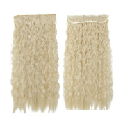 Bleach Blonde Long Corn Wave Curly/wavy One Piece Clip in Hair Extensions (3/4 Full Head) 5 Clip Ins Hairpiece
