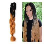 Stepupgirl 60cm Black to Yellow Brown Ombre Colour Synthetic Big Afrika Amerika Mengepang Rambut Jumbo Braid with Calendar Card