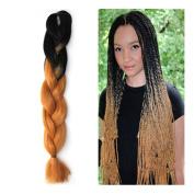 Stepupgirl 60cm Black to Yellow Brown Ombre Colour Synthetic Big Afrika Amerika Mengepang Rambut Jumbo Braid with Calendar Card