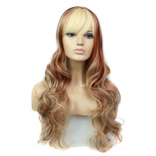 Gradient Women Long Natural Wave Synthetic Hair Wig Full Cap Cosplay Blonde Party Wigs with Side Bangs