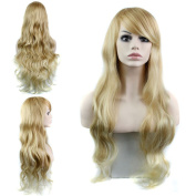 Women's Sexy Long Body Wave Hair Cosplay Costume Wig Synthetic Full Wigs with Bangs Party Wig