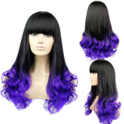 Fashion Long Curly Wave Hair Wig Women's Girl Full Hair Wig Cosplay Wigs with Bangs Gradient