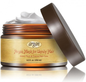 Unruly Hair Mask Deep Conditioner - Extra Thick Coarse Ethnic Hair Care - Premium Moroccan Argan Mask 250ml - Long Lasting Conditioning Dry & Damaged Hair & Scalp Nourishment