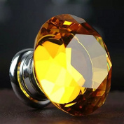 CSKB 12 PCS 30mm Yellow Crystal Knob Diamond Cut Door Pull Drawer Handle Cabinet Furniture 8 Colours Available