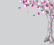 Large Oak Tree Decal with Pink and Grey Leaves