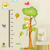 EMIRACLEZE Cyber Monday Cartoon Monkey Tree Height Tall Sticker Waterproof Removable Mural Wall Stickers Wall Art Decal for Children Room Decor