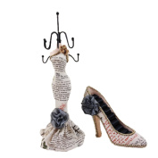 New 2pc Display Holder Mannequin Elegant Dress Jewellery and Shoe For Rings H050