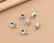 Luoyi 1pc 16mm*8mm Thai Sterling Silver Large Hole Charm Bead European Bead Iced Beer Kegs Shape Bead Spacer Bead