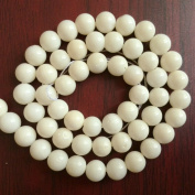 """Bolin - 8mm Natural White Coral Beads Round Polished Semi-Precious Jewellery Gemstones 15"""" Full Strand Beads"""