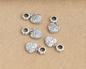 Luoyi 1pc 21mm*11mm Thai Sterling Silver Large Hole Charm Bead European Bead Heart Shape Bead Dangle Bead Spacer Bead