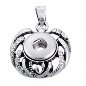 ZARABE Snap Pendant fit Snap Mini Button Rhinestone Apple Hollow 3x2.25cm