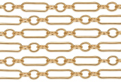 0.6m 14Kt Gold Filled Long and Short Chain 2x7 mm 24 Gauge For Diy Beading Arts and Crafts
