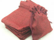 50pcs 9.3x13.5cm Dark Red Hemp/hessian Bags, Jewellery Pouches, Wedding Favours, Jewellery Packing, Gift Bags