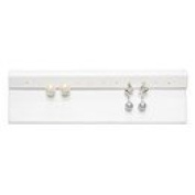 White Leatherette Earring Display Stand. Holds 6 Pairs of Earrings