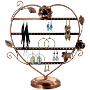 Copper Colour Heart-Shaped with Roses Earring Holder / Earring Tree / Earring Oraganizer / Earring Stand / Earring Display
