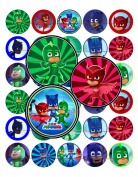 60 Precut 2.5cm PJ MASKS Bottle Cap Images Set B