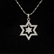 Onairmall 925 Sterling Silver Star of David Pendant Necklace, Cross Chain