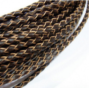 CHENGYIDA 10M 3mm Braided A Dark Brown Genuine Leather Cord Fit Making Necklace & Bracelet