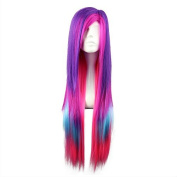 """Mcoser 31.5"""" 80cm Pink Purple Blue Red Colour Mixed Harejuku Punk Long Straight Cosplay Wigs"""