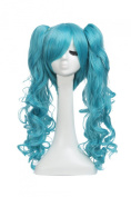 LOUISE MAELYS Vocaloid Miku Long Curly Cosplay Anime Wig Clip on Ponytail Blue