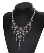JSDY Womens Vintage Alloy Skull Gun Pirate Dangle Pendants Punk Choker Necklaces Antique Silver