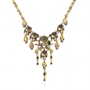 JSDY Womens Vintage Alloy Skull Gun Pirate Dangle Pendants Punk Choker Necklaces Antique Gold