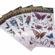 Cool Body Art Temporary Tattoos Removable Sticker, Pack of 5 Sheets