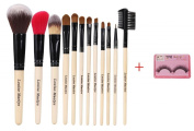 LOUISE MAELYS 12pcs Natural Professional Makeup Brushes Set Cosmetics with Eco-friendly Bag