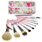 DRQ Professional-Makeup Brush Set 12PCS Makeup Brush Set Cosmetic Brushes with Leather Roses makeup brush sets