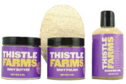 Spa Gift Set with Body Polish Luxurious Exfoliant, Body Butter for Soft and Supple Skin, and Gentle Shower Gel By Thistle Farms Supporting Abused Women. - Tuscan Earth