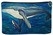 Whale Cosmetic Bag, Zip-top Closer - Taken From My Original Paintings